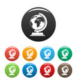 globe icons set color vector image vector image