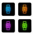 glowing neon smart watch showing heart beat rate vector image vector image