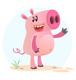 happy cartoon pig vector image