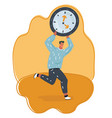 man holding big digital clock and running vector image