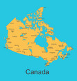 map of canada with cities on a blue background vector image vector image