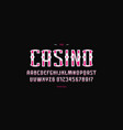 ornamental sans serif font in gambling style vector image vector image