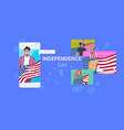 people holding usa flags 4th july american vector image