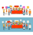 People with placards on demonstration Holiday vector image vector image
