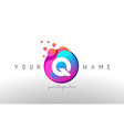 q dots letter logo with bubbles a letter design vector image vector image