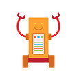 robot with long hands smile vector image vector image