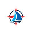 sailing boat star compass logo vector image vector image
