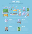 school supplies poster in flat style vector image