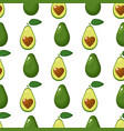 seamless pattern with fresh whole half avocado vector image vector image