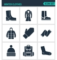 Set of modern icons Winter clothes shoes vector image
