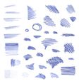 set of pen strokes isolated on white background vector image