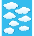Set of white clouds in the blue sky vector image