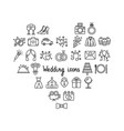 set wedding icons on white background vector image vector image