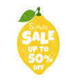 summer sale poster with lemon vector image vector image