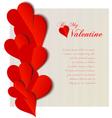 Valentine hearts cutout design card vector image