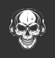 vintage skull listening music in headphones vector image vector image