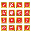 virus bacteria icons set red square vector image vector image