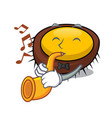 with trumpet sea urchin mascot cartoon vector image