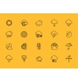 Symbols weather Set of Black Outline Icons vector image