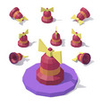 low poly bell with a bow vector image