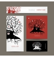Set of business cards design with old family tree vector image