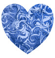 a blue valentine shape heart with light and deep vector image vector image