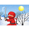 A red ninja in the snow vector image vector image