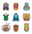 backpack flat icons vector image vector image