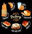 bakery shop icons baked bread products vector image