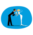 Bride and bridegroom kissing vector image vector image