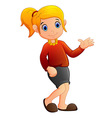 cartoon girl waving vector image vector image