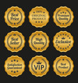collection of golden labels on black background vector image