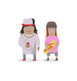 couple man and girl with skateboard on white vector image