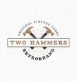 Crossed Hammers Vintage Retro Design Elements for vector image vector image