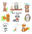 cute wild animals eating food icon set vector image vector image