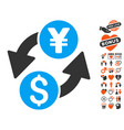 dollar yen exchange icon with love bonus vector image vector image