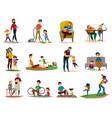 fatherhood raising children set vector image vector image