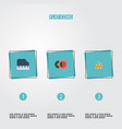 flat icons retro disc octave keyboard tambourine vector image vector image
