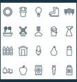 garden icons set with waterproof boot apple vector image