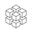 geometric cube of 8 smaller isometric cubes vector image vector image