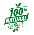 Green logo for a 100 natural food vector image
