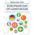 greeting card european day of languages vector image vector image