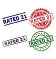 grunge textured rated 21 seal stamps vector image