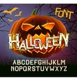 Halloween font letters poster with evil pumpkin vector image