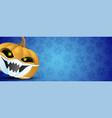 halloween pumpkin in protective mask vector image