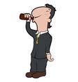 happy cartoon character drinking beer vector image