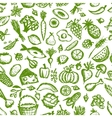 Healthy food seamless pattern sketch for your vector image vector image