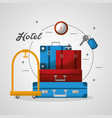 hotel luggage trolley stacked suitcases and clock vector image vector image
