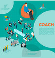 isometric personnel business coaching template vector image vector image