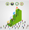 isometric pyramid money with people vector image